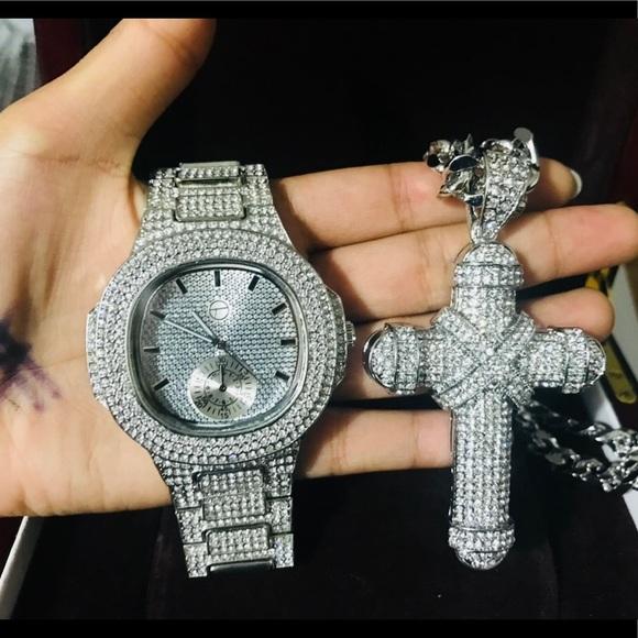 1ae6e3b28ae1e 14K Iced Out W. Gold PT Watch, XL Jumbo Cross Boutique